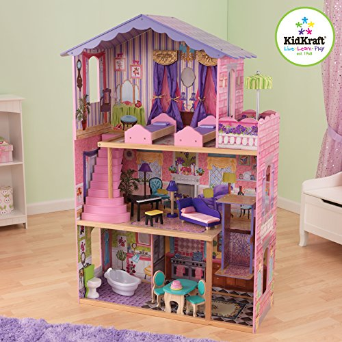 Kidkraft My Dream Mansion Wooden Dollhouse With New Gliding Elevator And 13 Pieces Of Wooden Furniture front-1064650