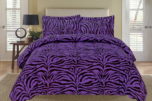Zebra Purple And Black Down Alternative Comforter Set King front-105885
