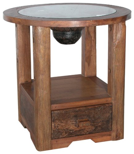 Image of Groovystuff Desperado End Table with Glass (B0041GO0L4)