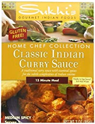 Sukhi\'s Gourmet Indian Foods Gluten-Free Classic Indian Curry Sauce, 3-Ounce Packets  (Pack of 6)