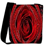 Snoogg Dew On Red Rose Designer Womens Carry Around Cross Body Tote Handbag Sling Bags