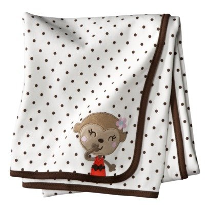Carter'S Reversible Receiving Blanket Brown Cream Pink front-134688