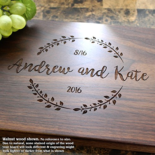Summer Wreath Personalized Engraved Cutting Board- Wedding Gift, Anniversary Gifts, Housewarming Gift,Birthday Gift, Corporate Gift, Award, Promotion. #023