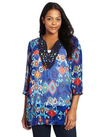 Jones New York Women's Plus-Size Tunic With Neckline Applique, Palace Blue/Multi, 1X