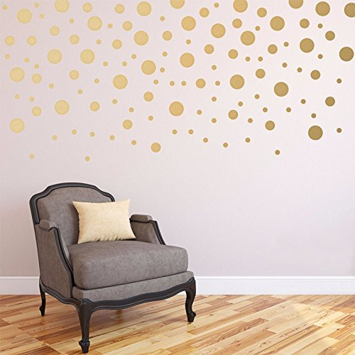 120pcs/pacchetto Oro Adesivi da Parete Confetti Pois per cameretta bambini-Dimensioni miste attacca e stacca decalcomania murale Home Decor