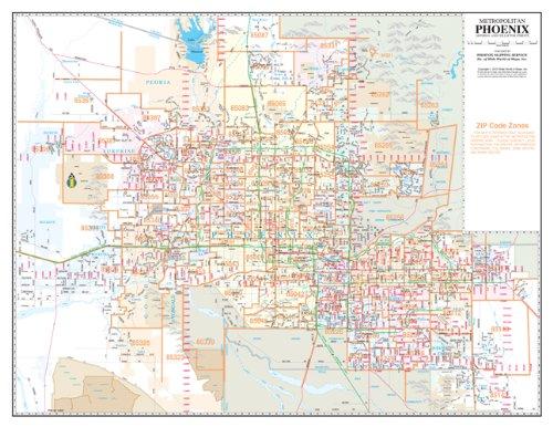 Metropolitan Phoenix ZIP Code Arterial and Collector Streets Desk Map Gloss Laminated PDF