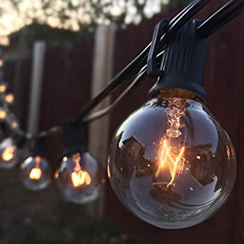 G40 String Lights with 25 Clear Globe Bulbs-UL listed for Indoor/Outdoor Commercial Use, Vintage Backyard Patio Lights, Outdoor String Lights, Globe Wedding Light String, Umbrella Light String (Black)