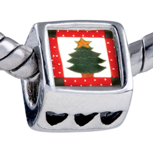 Pugster Christmas Charms Bead Christmas Tree Gifts Quilt Square Beads Fits Pandora Bracelet