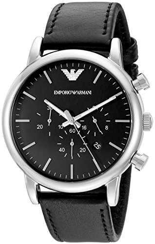 Emporio Armani Men's AR1828 Classic Stainless Steel Watch with Black Leather Band (Emporio Armani Black Dial compare prices)