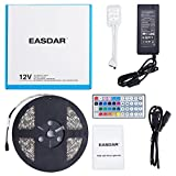 EASDAR 16.4ft/5m 5050 300leds Waterproof RGB LED Strip Light Kit RGB 5M + 44Key Remote + 12V Power Supply