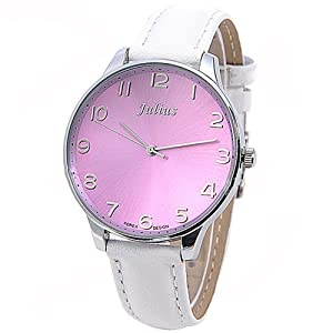 (JULIUS) Genuine Leather Band Quartz Watch Wrist Analog Watch Wristwatch with Big Round Case for Woman - White SWWT2-272151