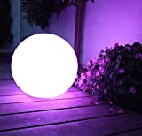 Mr.Go 14-inch Multi-Function Color Changing LED Ball Orb in White, Sturdy Waterproof Rechargeable, Wireless w/ Remote Control Beautiful Light Effect, Subtle Ambient Lighting Relaxing Mood Lamp