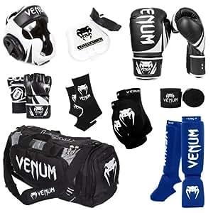 Venum Challenger 2.0 MMA Training Bundle, Black Gloves, Blue In-Step Shinguards, Black MMA Gloves, Black Headgear, Black Handwraps, Black/White Mouthguard, Black Sport Bag, Black Ankle Support, Black Elbow Protector, 10-Ounce Boxing Gloves, Small MMA Gloves