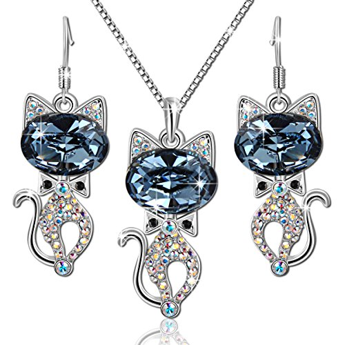 Brilla-Pendant-Necklace-and-Stud-Earrings-Fashion-Jewelry-Sets-Ballet-Cats-Blue-Swarovski-Crystal