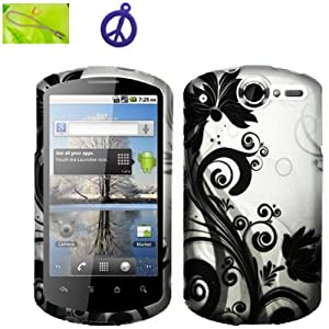 Huawei AT&T Impulse 4G (B-BLKV) Black Vine Flower on Silver Design, Rubberized Coated Surface Hard Plastic Case Skin Cover Faceplate + Peace Charm and Strap Combo