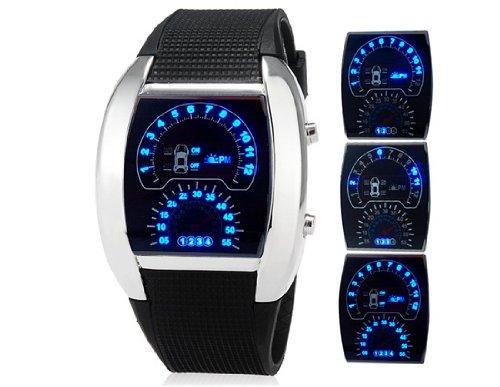 Leobeer Men Unisex Car Dashboard Design Dial Led Sports Watch With Rubber Strap (Silver) M.
