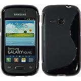 Silikon Hülle für Samsung Galaxy Young - S-Style schwarz - Cover PhoneNatic Schutzhülle + Schutzfolien