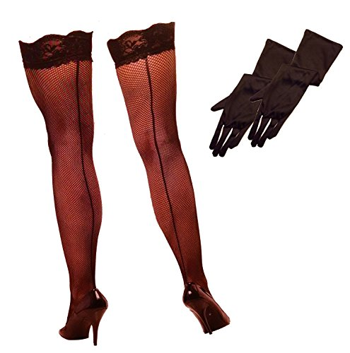 "Fishnet Thigh High Black Stocking & Long Elbow Length 16"" Stretch Gloves Bundle"