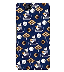 BLUE KIDDISH TEDDY BEAR PATTERN 3D Hard Polycarbonate Designer Back Case Cover for Micromax Canvas Knight A350