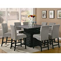 Hot Sale Stanton Contemporary 9pc Counter Height Dining Set Gray Microfiber Rich Black Finish