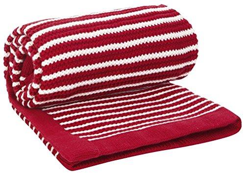 JoJo Maman Bebe Breton Striped Blanket, Red/Ecru - 1
