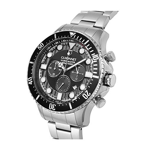 GUIONNET HYDROMASTER DIVER MEN WATCH,Chronograph,Anti-Reverse Diver bezel function,Quartz,Metal Silver Black (Dive Master Chrono compare prices)