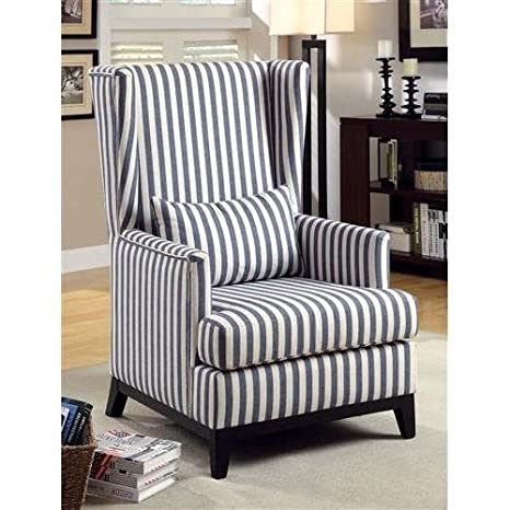 Mwave IDF-AC6996ST Edison Modern Accent Chair, Dark Blue Stripe, Material: Wood, wood veneers, fabric, foam padding, Finish: Dark Blue Stripe