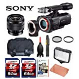 Sony NEX-VG900 Full-Frame Camcorder (Black) + Sony SEL1018 10-18mm Wide-Angle Zoom Lens + Case + LED 160 + Two 64GB Memory Cards