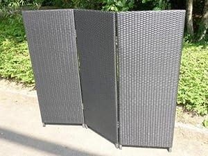 Paravent Polyrattan Sichtschutz Trennelement, 3-teilig, 150x130cm, handgeflochten u. wetterfest, schwarz