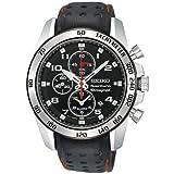 Seiko Sportura Chronograph Black Leather Strap Gents Watch SNAE65P1