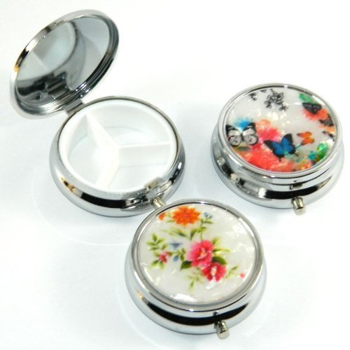 AlphaAcc Set of 3 Pocket Metal Pill Box with 3 Compartments, Floral Design ACC-1401