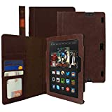 KHOMO � Brown Book Style Leather Case for Amazon Kindle Fire HDX 8.9 inches
