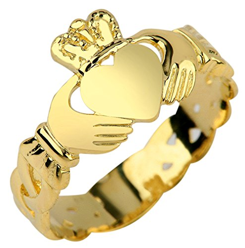 Ladies 14k Gold Claddagh Ring with Trinity Band (7) (Gold Claddagh Rings For Women compare prices)