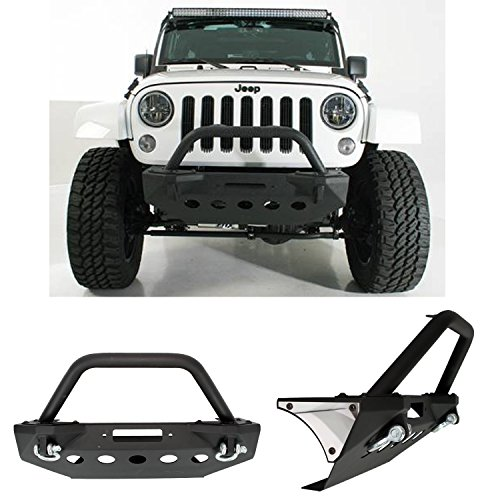 Restyling-Factory-07-16-Jeep-Wrangler-JK-Stubby-Rock-Crawler-Front-Bumper-With-Built-In-Winch-Plate-2x-D-Ring-Textured