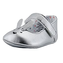 Rosie Pope Bunny Mary Jane Mary Jane Fancy Party Shoes 0-3 Months Infant Crib Shoes Baby Shoes Silver