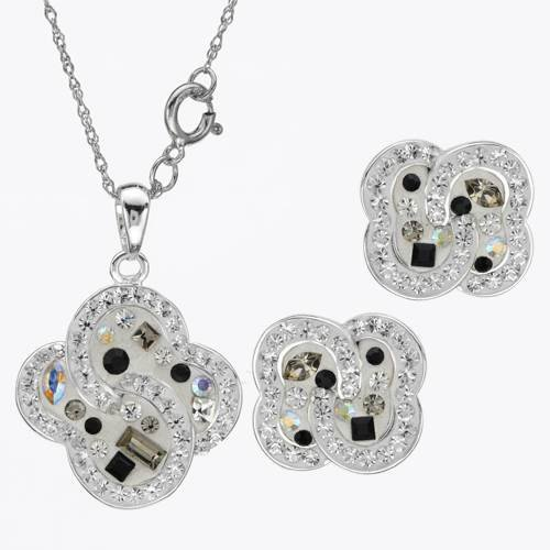 Sterling Silver Crystals Ladies Jewelry Set. Length 15 in. Total Item weight 6.8 g.