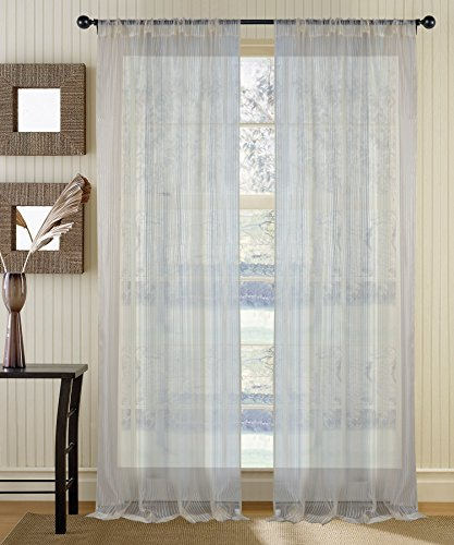 Deco Window Sheer Curtain Radhika Champagne 5 ft Window