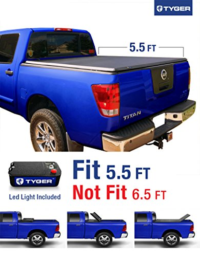 Tyger Auto TG-BC3N1026 Tri-Fold Pickup Tonneau Cover (Fits 04-15 Nissan Titan (with/without Utility Track) 5.5 feet (66 inch)) (2014 Nissan Truck Accessories compare prices)