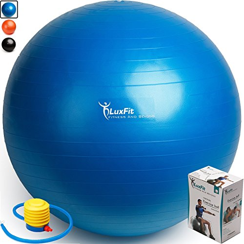 Exercise Ball, LuxFit Premium EXTRA THICK Yoga Ball '2 Year Warranty' - Swiss Ball Includes Foot Pump. Anti-Burst - Slip Resistant! 45cm, 55cm, 65cm, 75cm, 85cm Size Fitness Balls (Blue, 55cm)