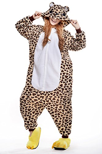 JY Adult Unisex Leopard Bear Kigurumi Pyjamas Sleepwear Cosplay Dress Costume