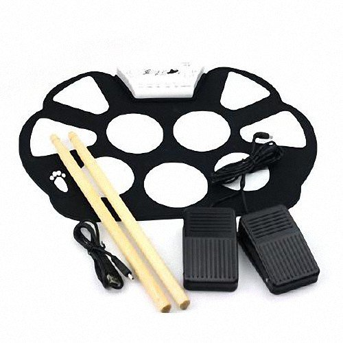 Generic W758 Portable 9 Pad Drum Roll-Up Drum Kit High Quality Material Color White