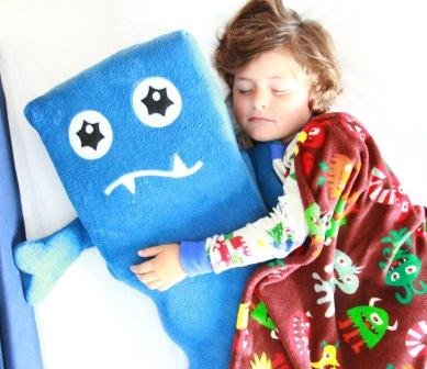 Monster Buddy Memory Foam Body Pillows for Kids, Blue