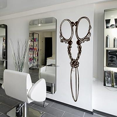 Wall Decal Vinyl Sticker Decals Art Decor Design Hair Salon Scissors Retro Curls Beauty Hair Stylist Bedroom Fashion Barber Cosmetic (M1436)
