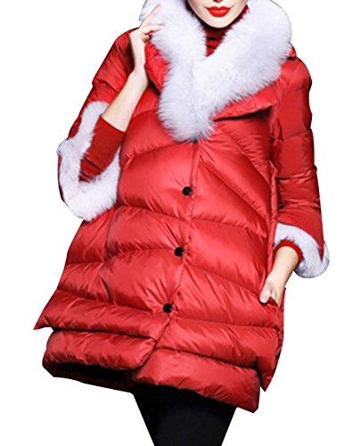 LIYAYI Womens Slim Fit Button Thicken Padded Fur Collar Puffer Dowm Coats<br />
