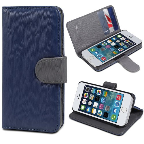 iPhone SE Case, GreatShield LOLLY Series Leather Wallet Case with Stand for Apple iPhone SE (Navy Blue & Gray)
