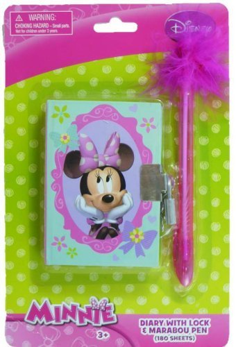 "Disney ""Mini"" Minnie Mouse Diary with Lock & Feather Pen - 1"