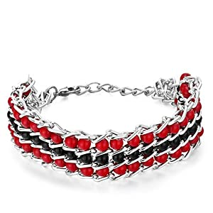 Pugster Chain 3-Row Black Red Little Plastic Cement Beads Bracelet