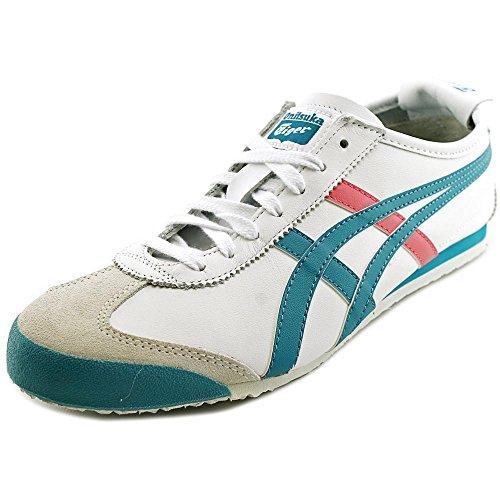 Onitsuka Tiger Women's Mexico 66 Classic Running Shoe, White/Tropical Green, 9.5 M US