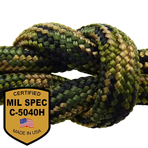 MilSpec Jungle Camo 110 ft. 11-Strand Hank Paracord. Guaranteed MIL-C-5040H Compliant, Military Survival 750 Parachute Cord, Type IV. Made in