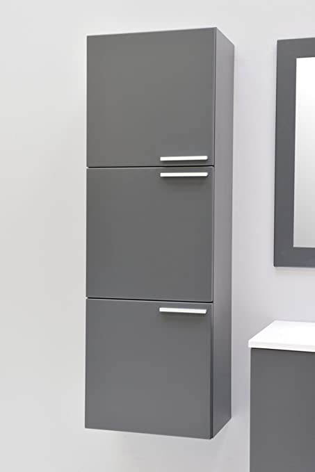 Bathroom Furniture Tall Boy Bathroom Cabinet Wall Cabinet Bathroom Graphite Matt Pre-Assembled